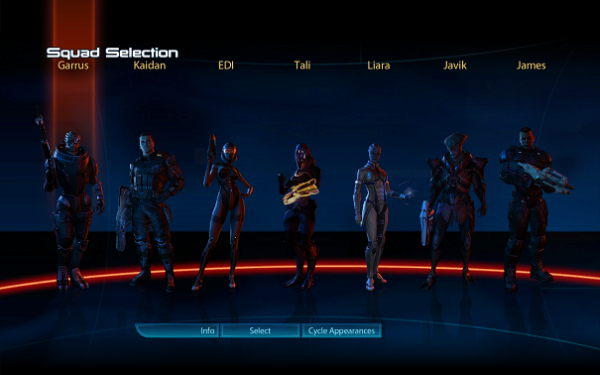 Mass Effect 3 Squad Selection