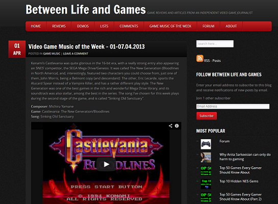 New Between Life and Games Site