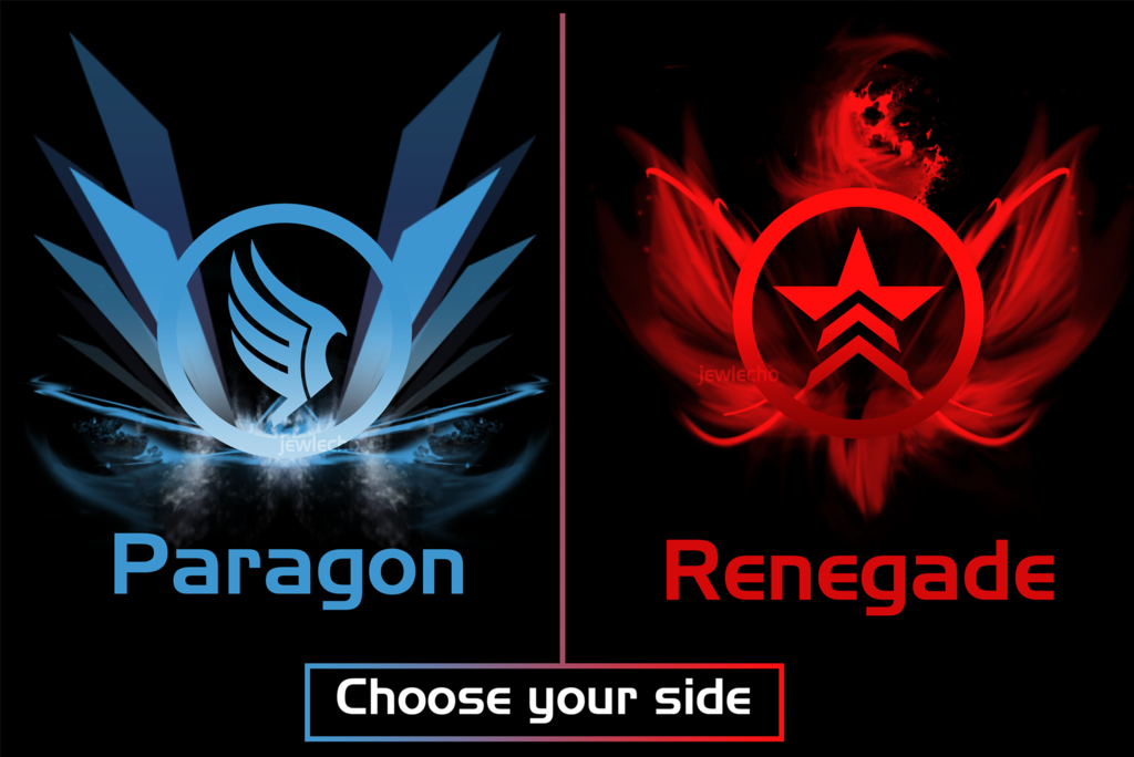 choose_your_side__paragon_or_renegade__t_shirts__by_jewlecho-d5flbur