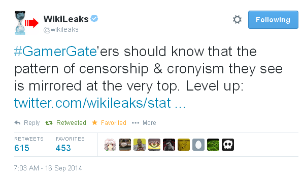 WikiLeaks Tweet GamerGate