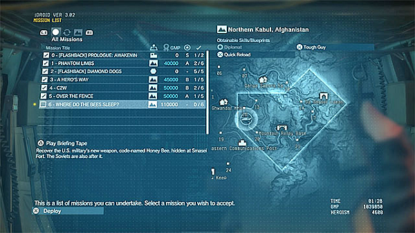 Metal Gear Solid V The Phantom Pain Mission List