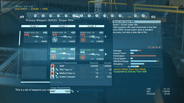 Metal Gear Solid V The Phantom Pain Weapon Upgrades