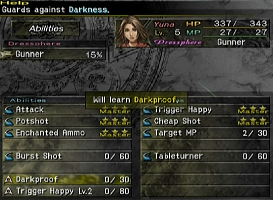 FFX-2 Dressphere Menu